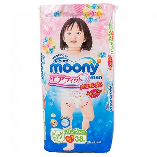 Подгузники-трусики MOONY для девочек 12-17 кг, 38 шт, размер XL