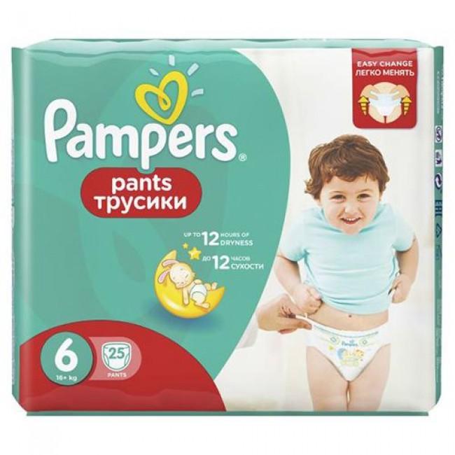 Подгузники-трусики PAMPERS Pants Extra Large 16+кг, Средняя Упаковка 25 шт, р.6