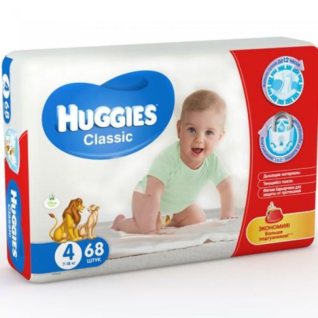 Подгузники HUGGIES Classic Mega Pack 7-18кг 68шт р.4