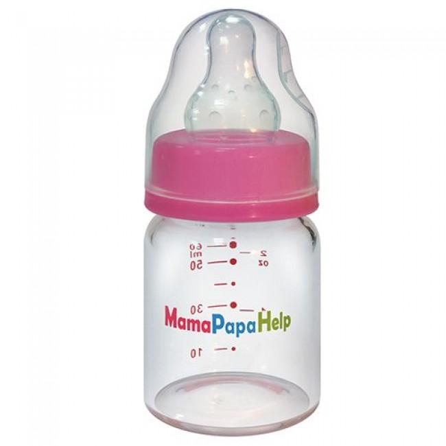 Бутылочка MamaPapaHelp стеклянная, 60 мл.