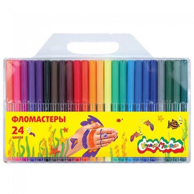 Фломастеры, 24 цвета, КАЛЯКА-МАЛЯКА