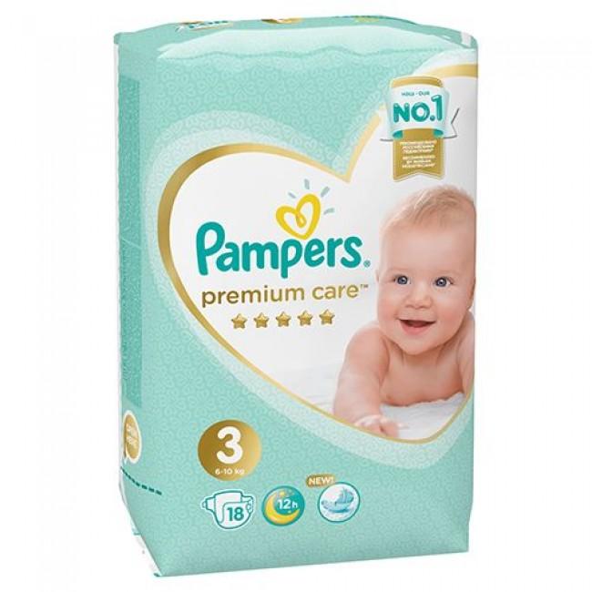 Подгузники PAMPERS Premium Care Midi, 6-10 кг, 18 шт