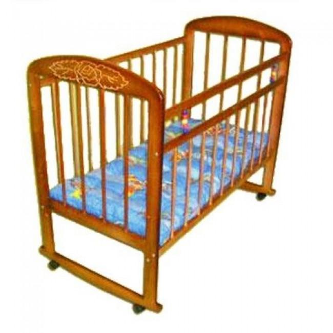 """Кроватка детская МИШУТКА """"Мишутка-8"""" 120*60 классическая, колесо-качалка, с узором"""