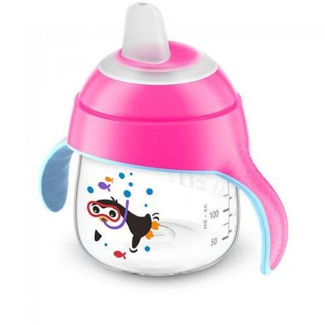 Чашка-поильник AVENT Comfort с носиком, розовая, с пингвином, с 6 мес., 200 мл