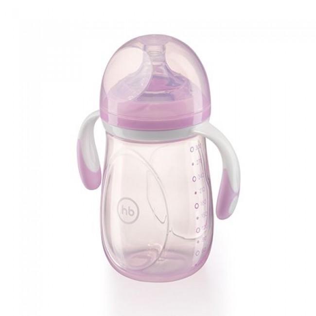 Бутылочка HAPPY BABY с ручками, широкое горло, антиколиковая силиконовая соска, 300 мл