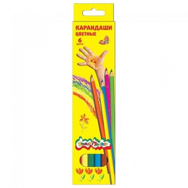 Набор цветных карандашей, 6 цветов, шестигранные, КАЛЯКА-МАЛЯКА