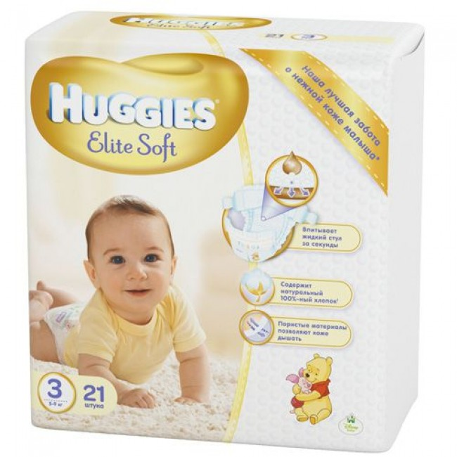 Подгузники HUGGIES ELITE SOFT 3 (5-9кг), 21 шт.