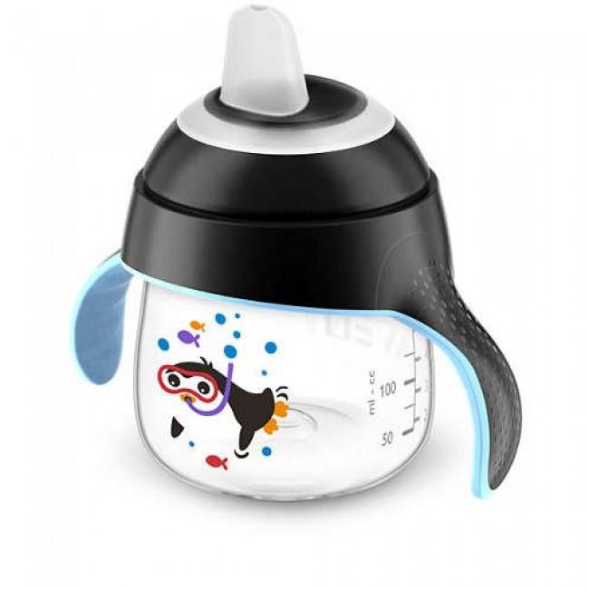 Чашка-поильник AVENT Comfort с носиком, черная, c пингвином, с 6 мес., 200 мл