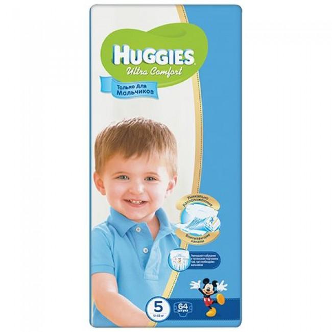 Подгузники HUGGIES Ultra Comfort Giga Pack для мальчиков 12-22 кг 64 шт Размер 5