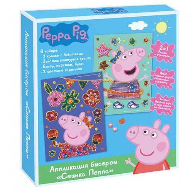 "Аппликация бисером ""Пеппа"", краски, бисер, пайетки, PEPPA PIG"